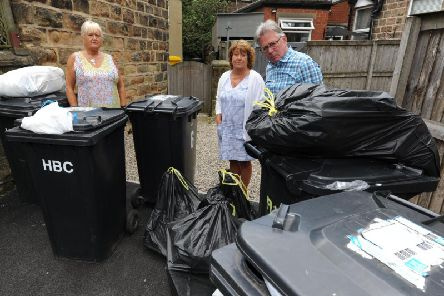 Chippendale Place Harrogate, not had its rubbish collected for six weeks.'Pictured Angry residents from left Sue Tolson, Marie Monaghan and Chris Brackley. Pictured: Gerard Binks.