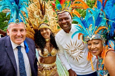 The carnival is coming -  Coun Stanley Lumley, Harrogate Borough Councils cabinet member for culture, tourism and sport, second left, is carnival dancer Natalie Brown, Harrogate Borough Council chief executive Wallace Sampson, and carnival dancer Lorraina Gumbs.