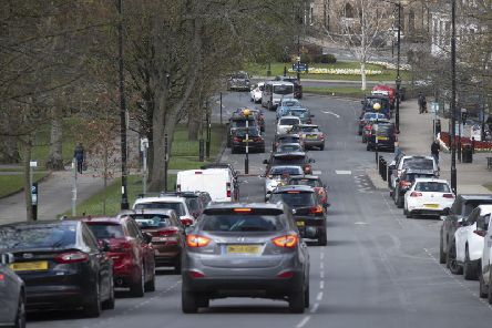Traffic congestion in Harrogate on Montpellier Hill.