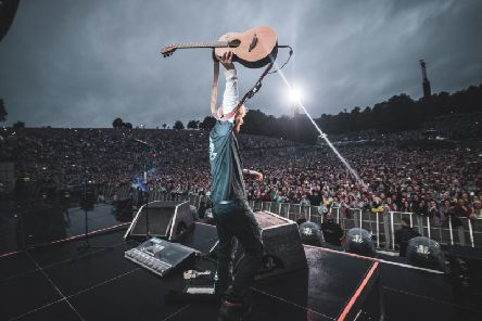 Ed Sheeran on stage at Roundhay Park. Picture: Zakary Walters.