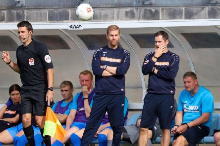 Harrogate Town manager Simon Weaver, left, and his assistant boss Paul Thirlwell look on from the sidelines during Saturdays National League clash with Torquay United. Picture: Matt Kirkham
