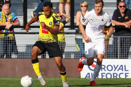 Harrogate Town winger Brendan Kiernan in action against Boreham Wood. Picture: Matt Kirkham