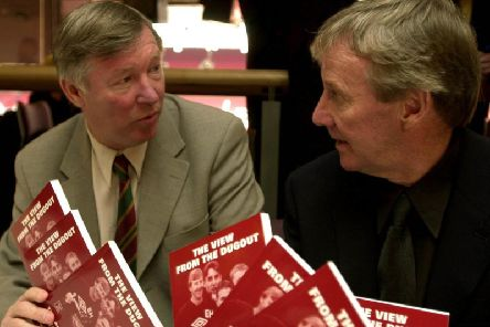 Former Pools player Eric Harrison, who has died at the age of 81, with Manchester United legend Sir Alex Ferguson.