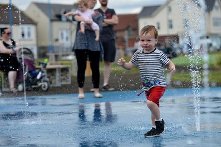 Joseph Blackett (2) having fun in the water fountain at the opening of the new Seaton Carew children's play area on the site of the former paddling poo