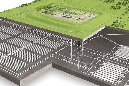 An artist's impression of what a Geological Disposal Facility (GDF) could look like above and below ground.