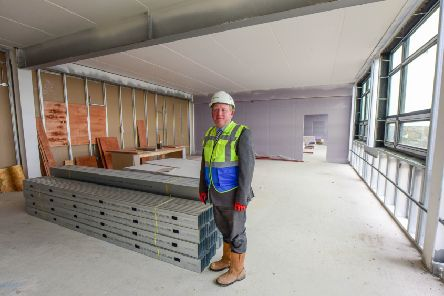 Head teacher Mark Tilling  in a classroom in the new buildings at High Tunstall School, hartlepool.