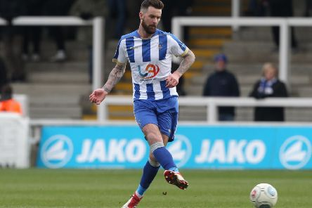 David Edgar of Hartlepool United during the Vanarama National League match between Hartlepool United and Dover Athletic at Victoria Park, Hartlepool on Saturday 9th March 2019. (Credit: Mark Fletcher | Shutter Press)'�Shutter Press'Tel: +44 7752 571576'e-mail: mark@shutterpress.co.uk'Address: 1 Victoria Grove, Stockton on Tees, TS19 7EL