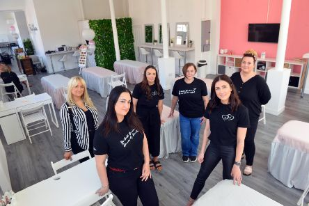 Owners Gemma Lowery and Amy McKenna (R) of Bella Marie Training Academy open another academy on Borough Road, Sunderland. Back from left tutors 'Natalie Evans, Ashleigh Edwards, Viki O'Neill and Kaye Kennedy.