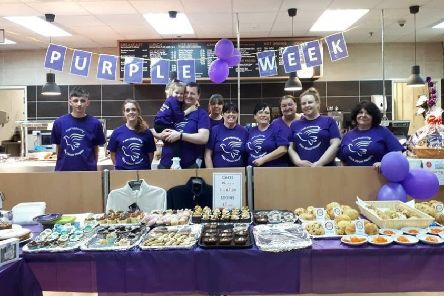 TJ Hughes staff in Hartlepool held a coffee morning as part of their support for Alice House Hospice's Purple Week.