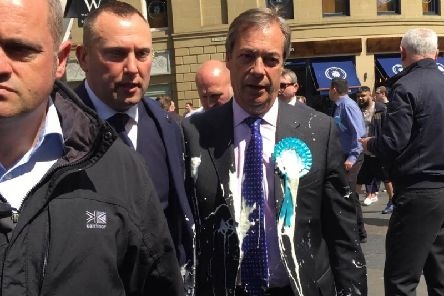 Nigel Farage following the incident. Photo by Tom Wilkinson/PA Wire.