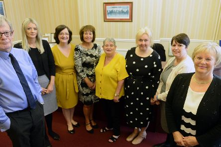Terence Creed (left) and Diane Brough (right) partners R Bell and Son Solicitors, Victoria Road, Hartlepool with staff (left to right)Susan Clouston, Caroline Gilhespy-Swan, Linda Travers, Agnes Standing, Christine Waller and Julie Dale.