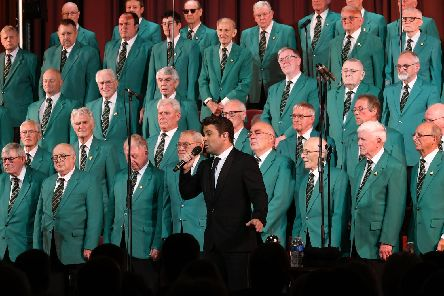 Joe McElderry singing with the Hartlepool Male Voice Choir at their 60th anniversery concert at The Borough Hall, Hartlepool, on Saturday night.