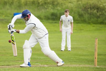 Asif Afridi on his way to 82 not out for Rastrick yesterday