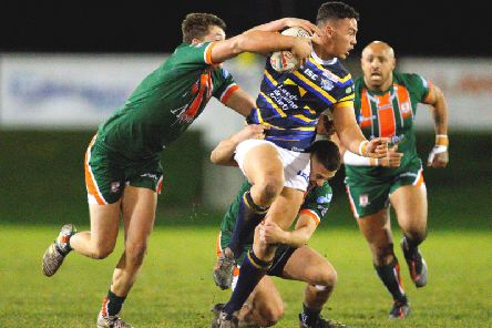 Tyler Dupree playing for Rhinos against Hunslet. Picture by Craig Hawkhead.