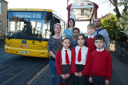 Parents fight to stop St Ignatius school bus from been scrapped. Pictured are parents Gemma Smith, Kim Stoner, Brenda Hamer and Grant Scott with their children.