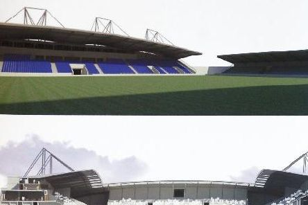 Designs for the 12,000 seater community stadium, which it now appears will never be built.