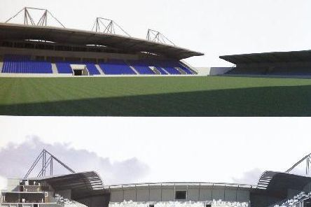 Designs for the new community stadium, which was supposed to be built on land in Newmarket, in Stanley.
