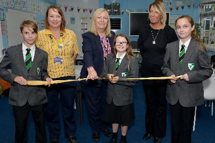 Outgoing Holgate Academy principal Sue Forsey (centre) overseeing the opening of a new accelerated learning room at the school in 2018.