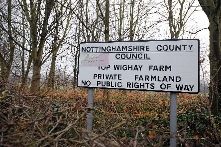 The Top Wighay Farm development site, which is owned by the county council, on the Hucknall and Linby border.