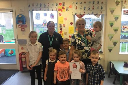 Back row: Abigail Hollis, Clair Bellamy (Senior Nursery Practitioner), Ashton Hollis, Karen Creighton (nursery manager) and Robyn Cleary.''Front Row:  Ava Bellamy, Morgan Cheeseman, Aoiffe Brown-Tomlinson and Barnaby Atherton