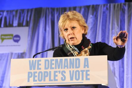 People's Vote event held at Victoria Hall in Sheffield'Anna Soubry MP speaking at the event