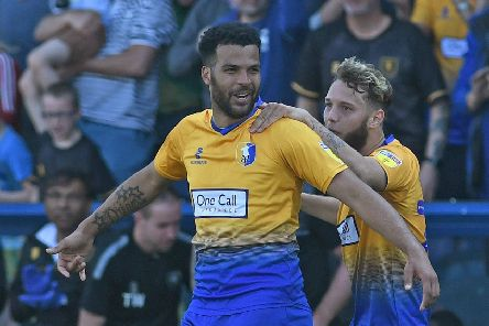 Picture Andrew Roe/AHPIX LTD, Football, EFL Sky Bet League Two, Mansfield Town v Morecambe, One Call Stadium, 19/04/2019, K.O 3pm''Mansfield's Jacob Mellis celebrates his goal with Jorge Grant''Andrew Roe>>>>>>>07826527594
