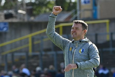 Mansfield Town manager John Dempster salutes the travelling Stags fans: Picture Steve Flynn/AHPIX LTD, Football, Sky Bet League Two, Carlisle United v Mansfield Town, Brunton Park, Carlisle, UK, 17/08/19, K.O 3pm''Howard Roe 07973739229