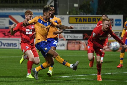 Picture: Andrew Roe/AHPIX LTD, Football, Sky Bet League Two, Mansfield Town v Leyton Orient, One Call Stadium, Mansfield UK, 20/08/19, K.O 7.45pm''Mansfield's Kellan Gordon has a shot on goal'Howard Roe>>>>>>>07973739229