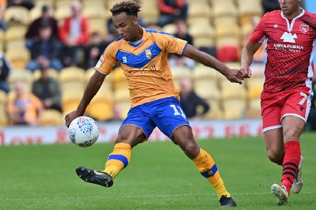 Mansfield Town's Nicky Maynard controls the ball: Picture Steve Flynn/AHPIX LTD, Football, Sky Bet League Two, Mansfield Town v Morecambe, One Call Stadium, Mansfield, UK, 10/08/19, K.O 3pm''Howard Roe - 07973739229