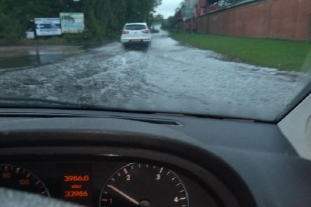 Drivers had to tackle flooded roads. Taken by Donna Hazzledine.