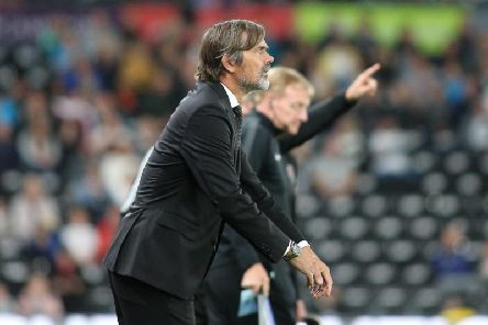 Phillip Cocu watches on against Bristol City. Photo by Jez Tighe.