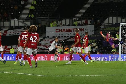 Jack Marriott finds the net to reduce the arrears.