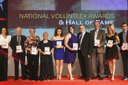 Pictured from left: England Athletics National Volunteer Winners, Shelby Williams, Peter Warden, Liz Sissons, Judy Cuckston, Abigail Pickard, Brian Page, Kerry Ambridge, Kevin Lincoln, Louise Goddard, Kevin Diedrick.
