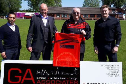 Garstang FC show off their new first-team shirt as the result of a three=year sponsorship deal with GA Associates