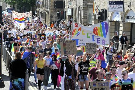 The parade around the city centre at this year's Lancaster Pride.