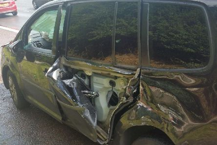 One of five cars involved in a crash on the M6 northbound between junctions 30 and 31 on Monday, August 19