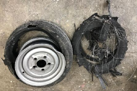 """""""There was a huge bang,"""" says the driver of a trailer whose tyres and wheels ended up looking like this after driving along a main road in Lancashire"""