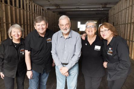 Leigh Film Society members with Peter Rowlinson from Leigh Spinners Mill