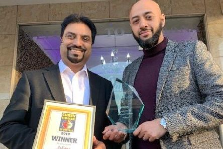 Shah Bedh and Ash Miah from Ashiana with the award