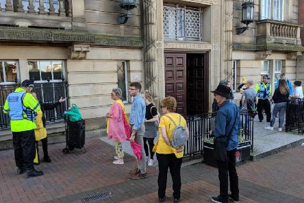 Protesters outside Lancashire County Council