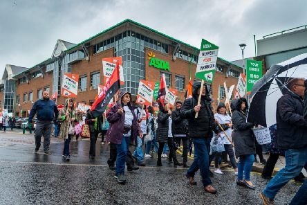 A protest in August at Asda's head office in Leeds