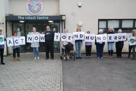 Members of Intact, Preston, gathered to add their voices to demands around the country for action for The End Hunger UK campaign