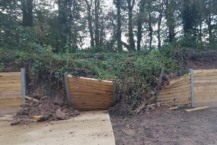 Damage to the new retaining fence at Penwortham Residential Park, Stricklands Lane.