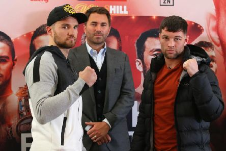 Scott Fitzgerald (right) before his fight with Anthony Fowler earlier this year. centre is Eddie Hearn''Photo: Matchroom Boxing