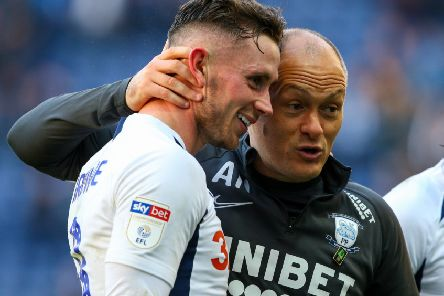 Preston midfielder Alan Browne with manager Alex Neil