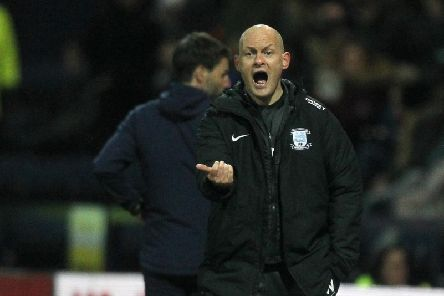 Preston manager Alex Neil gives instructions during the win against Huddersfield at Deepdale