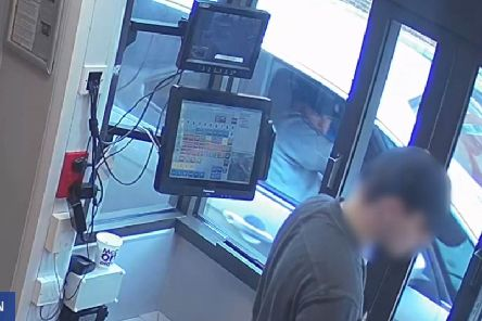 Joseph McCann using a drive-thru at McDonalds on April 25, whilst his alleged victim was in his car