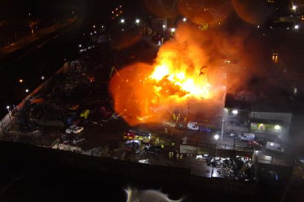 Drone image of a blaze in Longridge Road, Preston