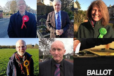 From top left - Martin Mitchell (Labour Party candidate), Mark Menzies (Conservative Party candidate), Gina Dowding (Green Party candidate), Mark Jewell (Liberal Democrat candidate) and Andy Higgins (Independent candidate)