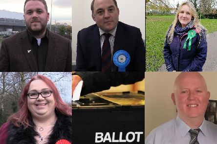 From top left - John Potter (Liberal Democrat), Ben Wallace (Conservative), Ruth Norbury (Green Party), Joanne Ainscough (Labour) and David Ragozzino (Independent)